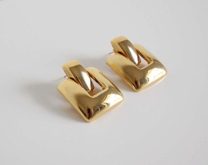 Vintage 1980s Gold Earrings Pierced Dangle