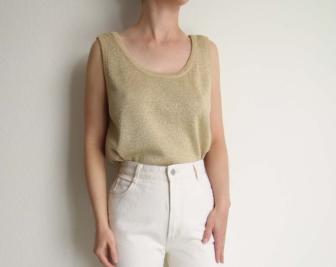Vintage Gold Tank Top Knit Womens Top Large