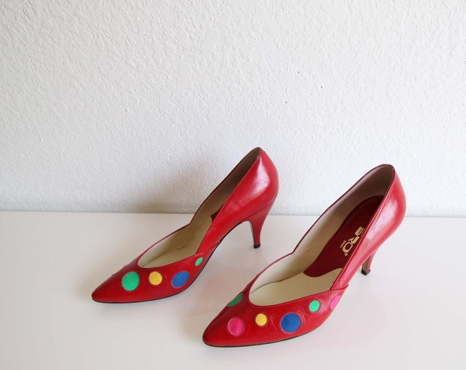 Vintage Pumps Polka Dot Red Leather Heels Womens Shoes Size 7 Narrow