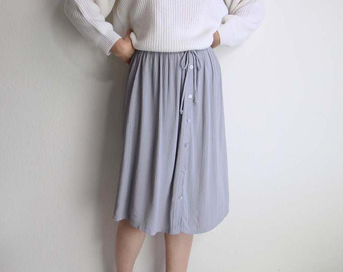 Vintage Gray Skirt Womens Small Knee Length Light Casual 1990s Crinkle