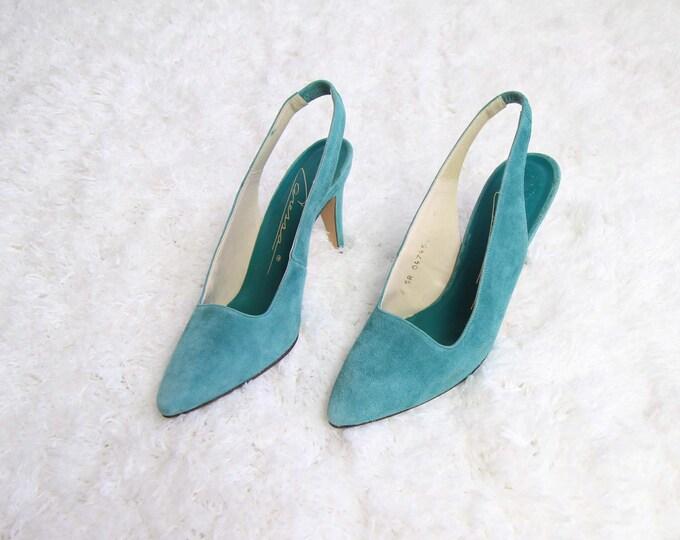 Vintage Suede Pumps Womens Heels Size 8 Slingback 1980s Teal
