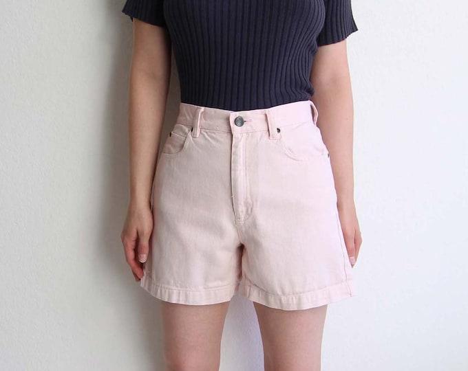 Vintage Pink Denim Shorts Womens Jean Shorts Small 1990s High Waist Shorts