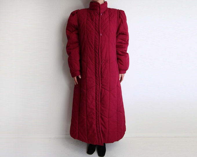 Vintage Puffy Coat 1980s Womens Winter Coat Large Long Raspberry