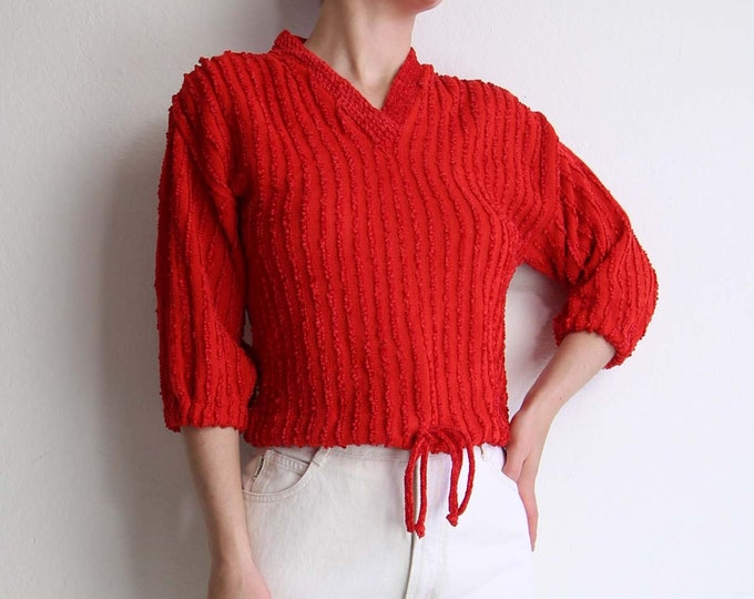 Vintage 1970s Womens Top Red Chenille Knit Top Small