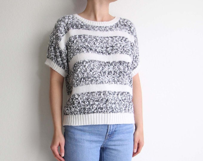 Vintage Sweater Womens Top 1980s Black White Stripe Knit Top Black White Medium