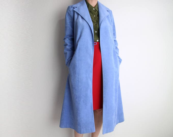 Vintage Jacket Womens Trench Coat 1970s Ultrasuede Robe Coat Belted Sky Blue Small