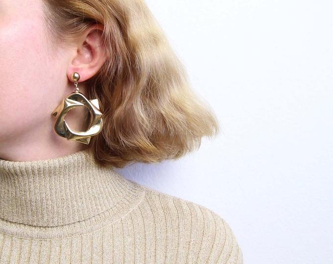 Vintage 1980s Earrings Gold Dangle Large Pierced