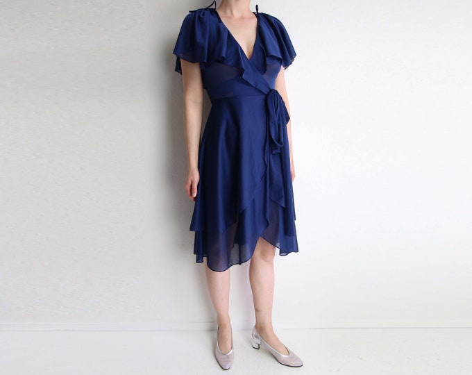 Vintage Blue Dress Womens 1970s Wrap Dress Sheer Extra Small