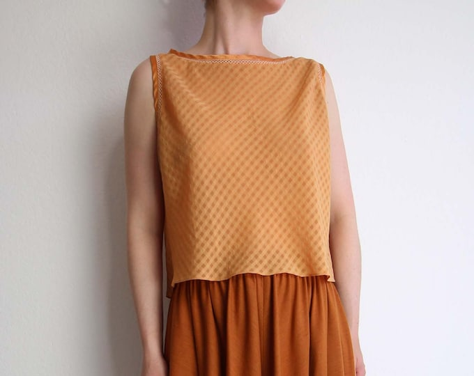 SALE Vintage Crop Top Burnt Orange Womens Top Small Sleeveless 1990s Chiffon