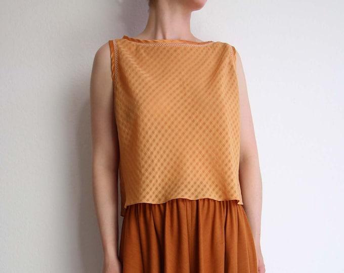 Vintage Crop Top Burnt Orange Top Sleeveless 1990s Chiffon Womens Small