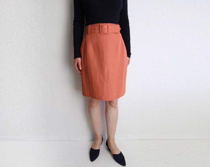 Vintage Skirt Womens High Waist Belted 1990s Coral Linen Medium