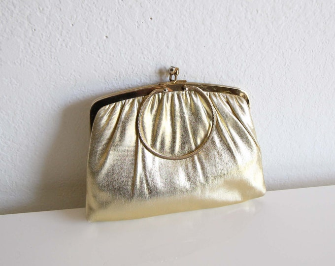 Vintage Gold Evening Bag 1950s Clutch Small Gold Lame Purse