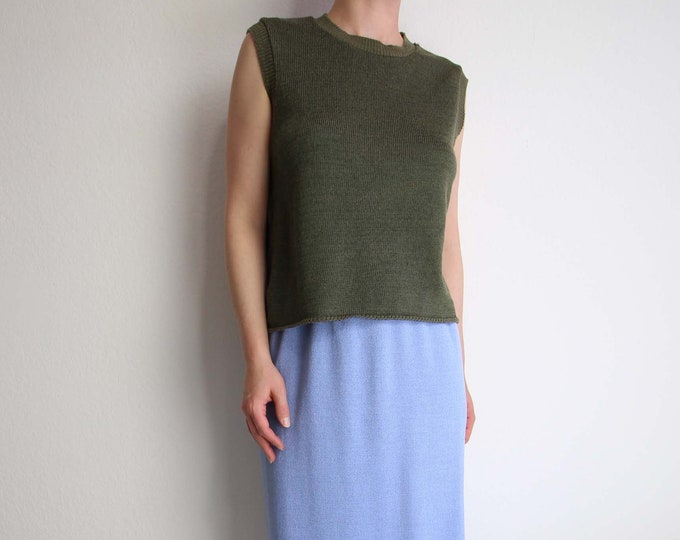 Vintage Sweater Womens Sleeveless Knit Top 1980s Avocado Green Large