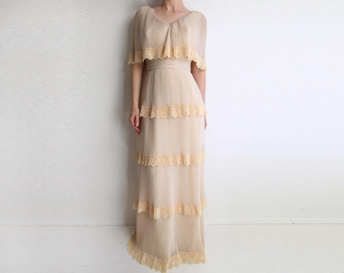 Vintage Tiered Gown Lace Chiffon Dress 1970s Long Formal Dress Small