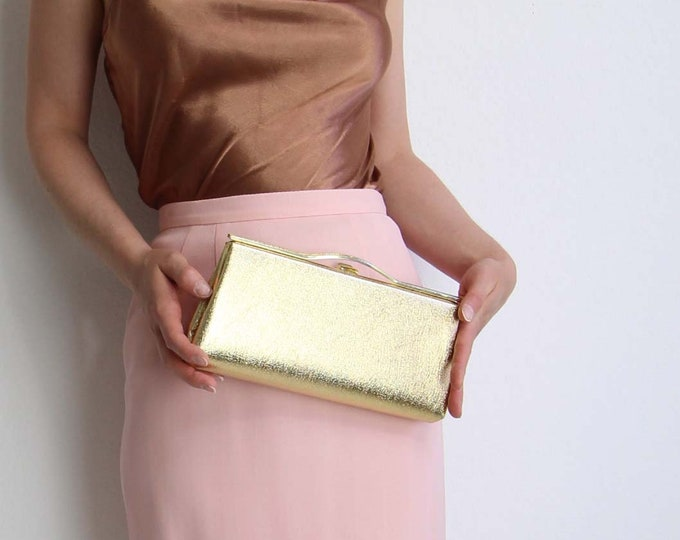 Vintage Gold Clutch Evening Bag 1970s Metallic Gold Lamé