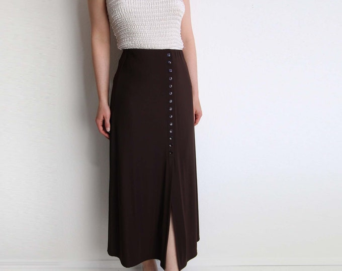 Vintage Skirt Womens Dark Brown 1990s Front Slit Long Small