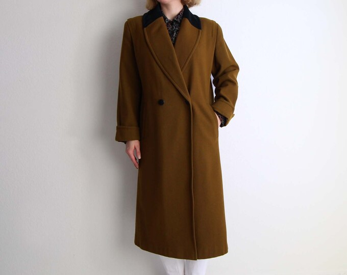 Vintage Velvet Collar Coat Womens Small Olive Wool 1980s Overcoat