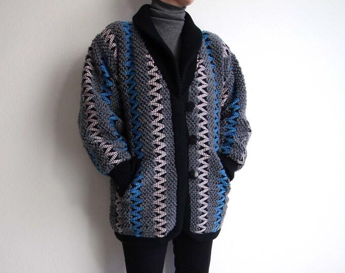Vintage Sweater Coat Womens Jacket Small Knit 1980s Black Gray