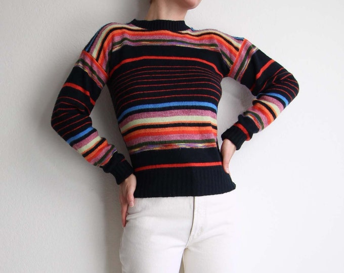 Vintage Striped Sweater 1970s Womens Top Small