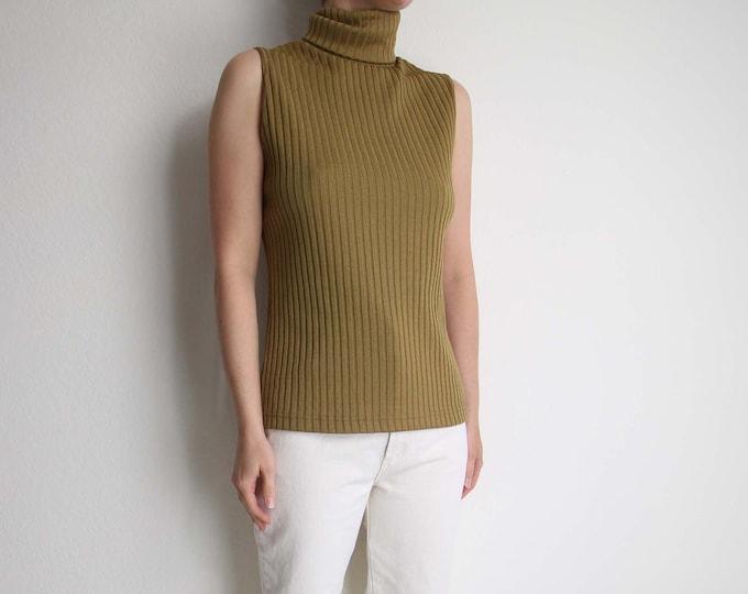 Vintage Sleeveless Turtleneck 1970s Womens Top Small