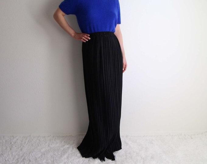 Vintage Black Skirt Womens Large 1990s Micro Pleat Skirt Long Maxi Skirt