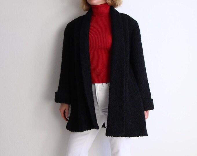 Vintage 1950s Persian Wool Coat Black Open Womens Medium Large