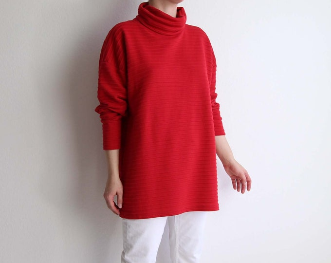 Vintage Red Turtleneck 1990s Ribbed Womens Top Large Long Shirt