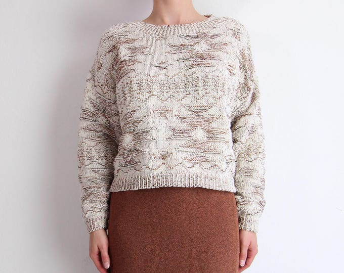 Vintage Cropped Sweater Womens 1990s Southwestern Knit Natural Sienna Small