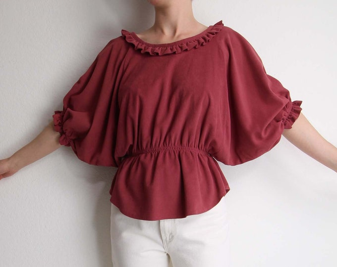 Vintage 1970s Womens Top Dark Pink Ruffle Boho Blouse Small