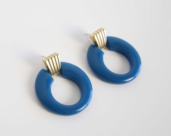 Vintage Hoop Earrings 1980s Dangle Pierced Blue Gold