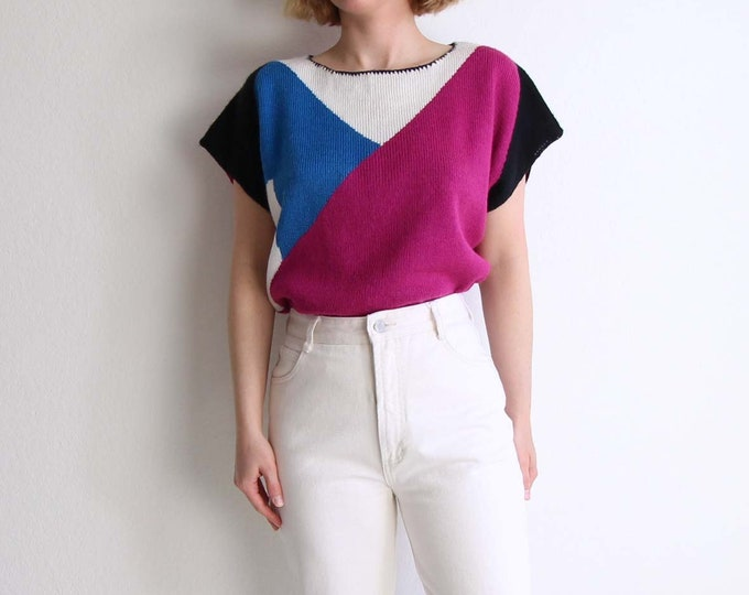 Vintage Womens Sweater Large 1980s Geometric Knit Top