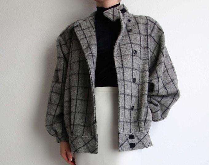 Vintage Coat 1980s Grid Gray Black Wool Womens Small