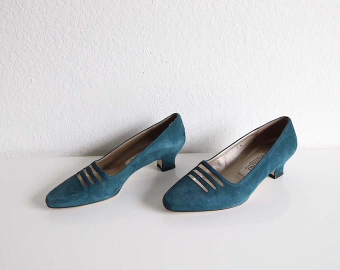 Vintage Suede Pumps Teal Heels 1990s Cutout Womens Shoes Size 6