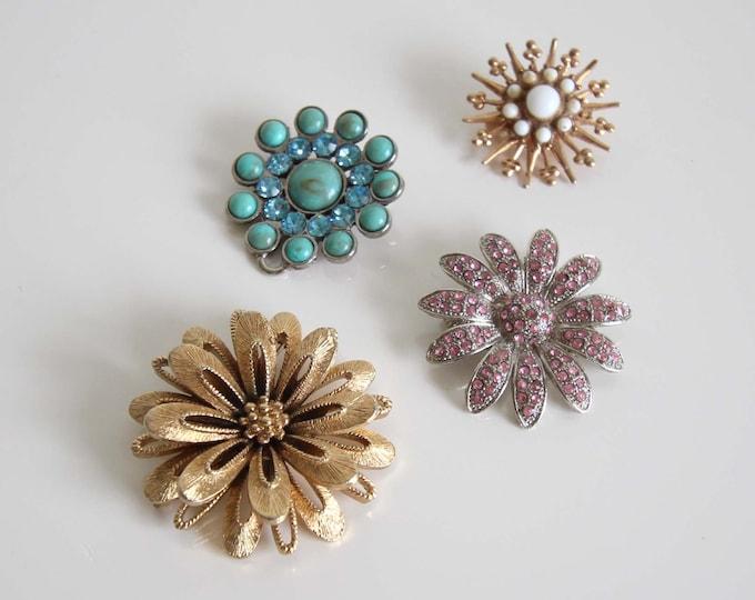 Vintage Brooch Lot 1960s Flower Gold Pink Blue Rhinestone Pins