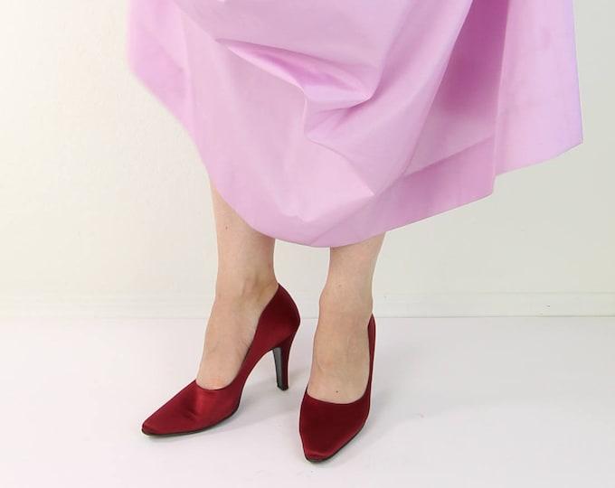Vintage Red Heels Satin Pumps Salvatore Ferragamo Womens Shoes Size 7
