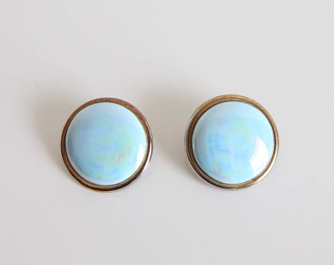 Vintage Blue Earrings 1980s Big Round Pierced Metal