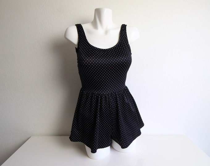 Vintage Swimsuit Womens Onepiece Polka Dot Skirted Bathingsuit Black White Small