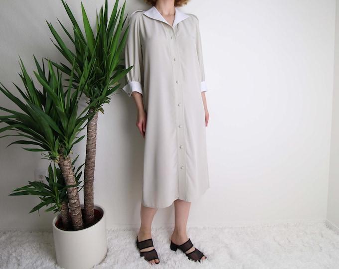 Vintage Shirtdress 1980s Womens Dress Small Beige