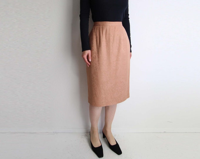 Vintage Pencil Skirt Peach Brocade Womens Small