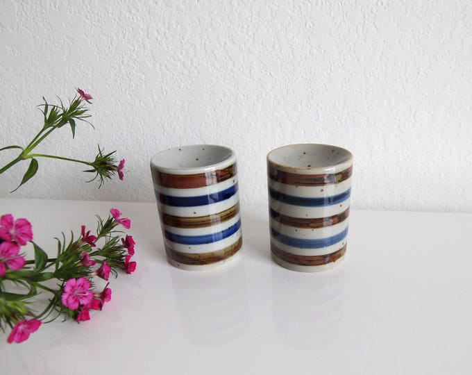 Vintage Salt Pepper Shaker 1980s Ceramic Striped