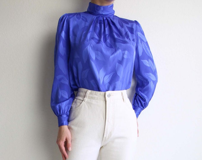 Vintage Blue Blouse Womens Top 1980s Longsleeve Leaf Extra Small
