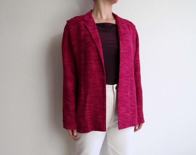 Vintage Pink Jacket Womens Top 1980s Open Blazer Raspberry Medium