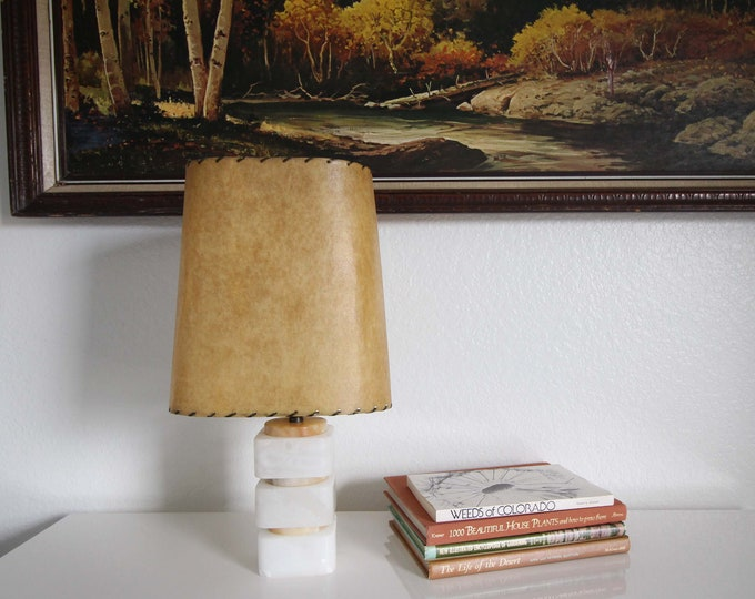 Vintage Marble Table Lamp Small Mid Century Lighting Leather Lamp Shade
