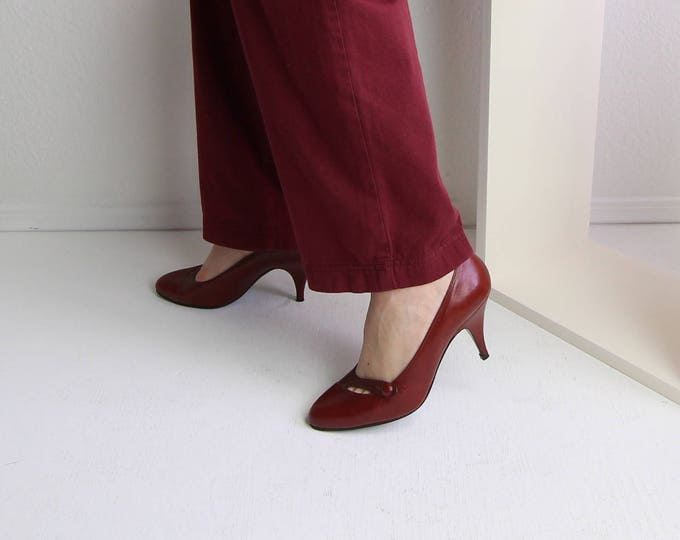 Vintage Shoes Womens Heels Brick Red Leather Pumps Size 7