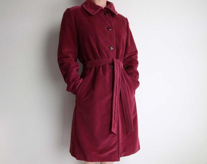 Vintage Jacket Womens 1970s Plush Raspberry Belted Wrap Coat Medium