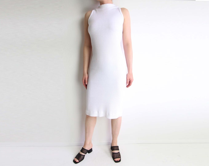 Vintage White Dress 1990s Ribbed Stretch Sleeveless Womens Small