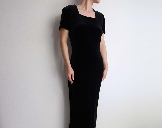 Vintage Black Velvet Dress Womens Small Gown Holiday Party Dress 1990s Minimalist