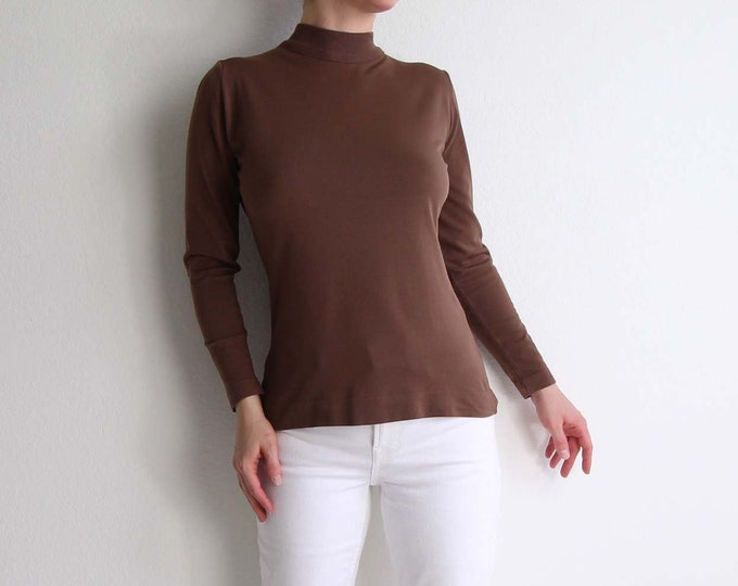 Vintage Mock Neck Top Longsleeve Brown 1970s Womens Shirt Small