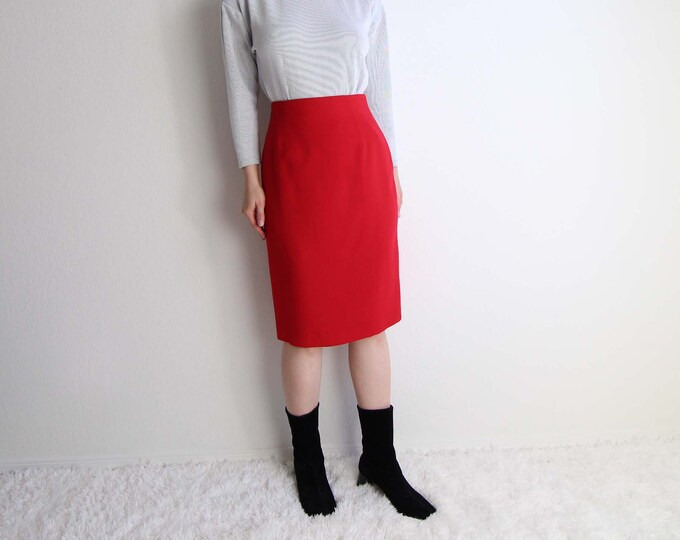Vintage Red Pencil Skirt 1980s High Waist Womens Small