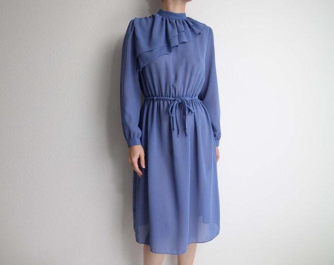 Vintage Blue Dress Womens 1980s Ruffle Chiffon Small
